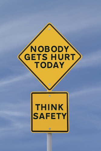 Nobody Gets Hurt Think Safety road sign
