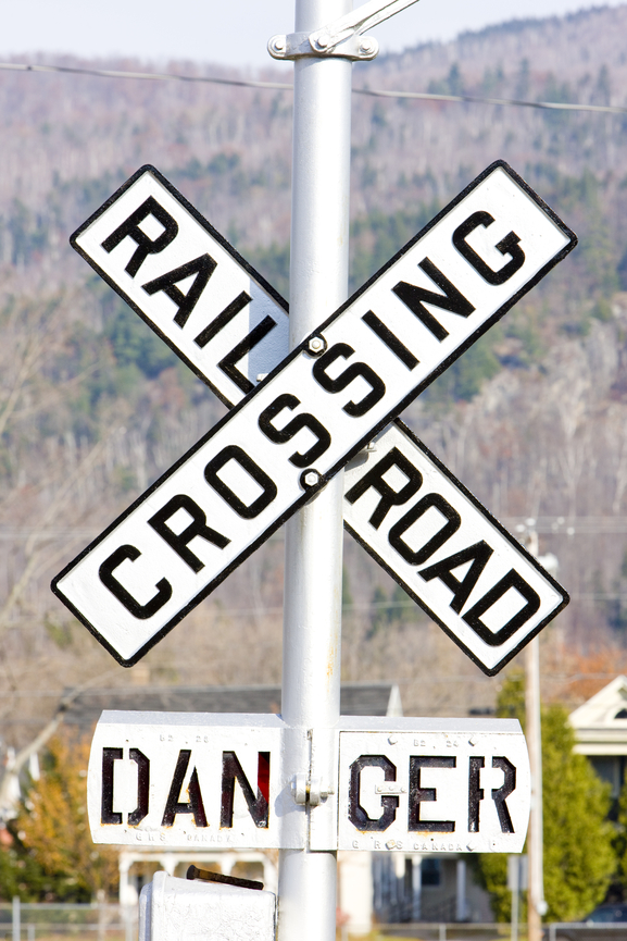 railroad crossing sign near the Denver foothills