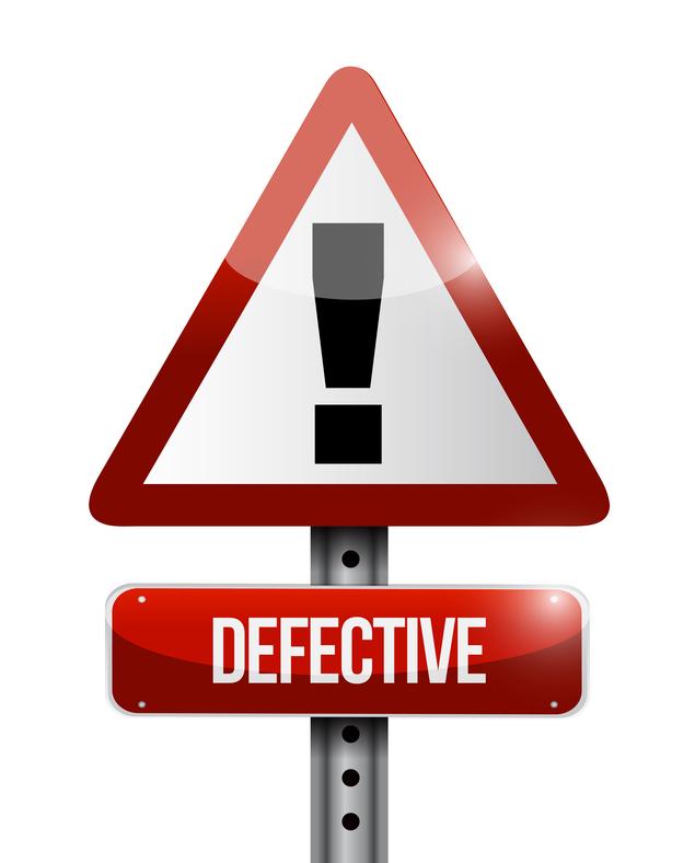 defective vehicle caution sign